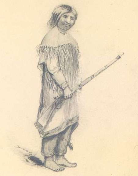 A pencil drawing of a long-haired man wearing buckskin and holding a rifle.