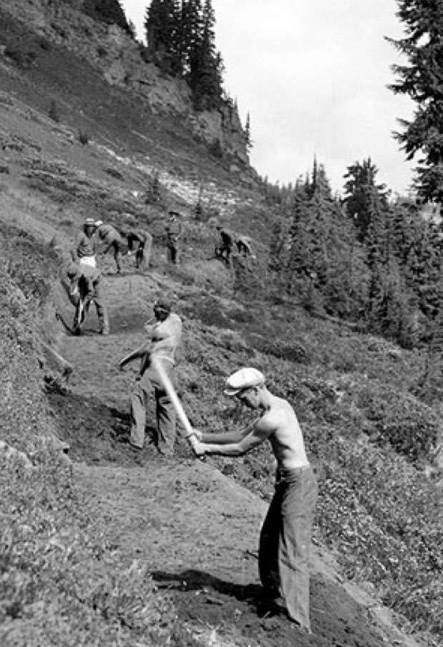 CCC crews building trails in the Gifford Pinchot, 1933
