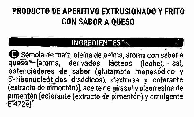 Ejemplo de etiqueta nutricional de un producto de aperitivo