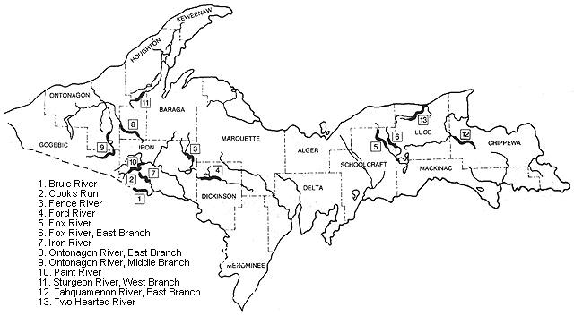 Blue Ribbon Trout Streams in upper Michigan