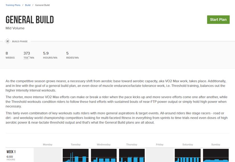 General Build Training Plan