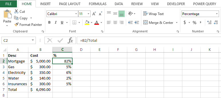percentage of total in excel