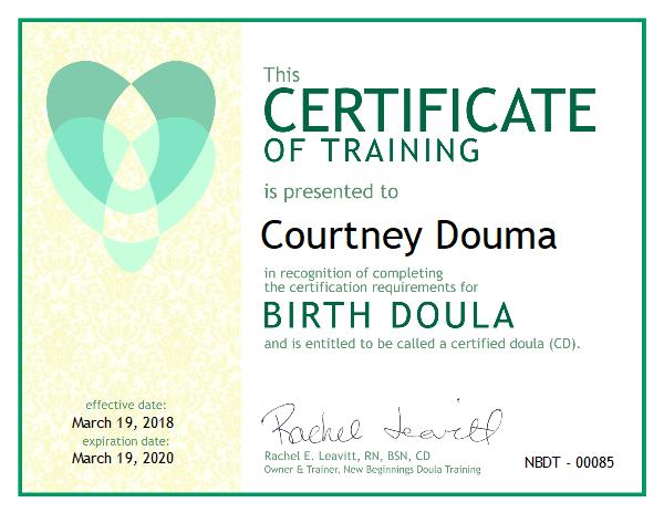 Courtney Douma, Certified Doula serving the Sioux Center, Iowa area