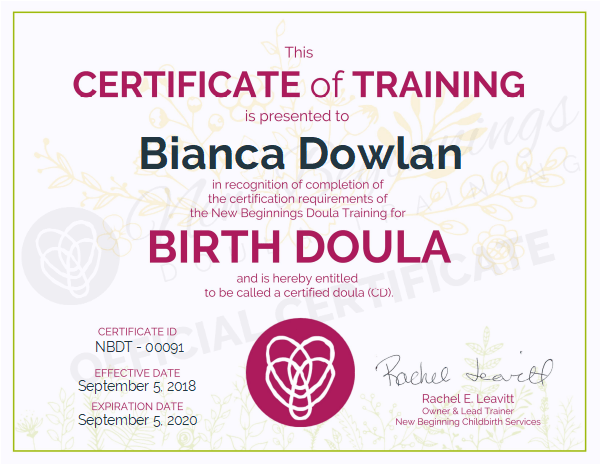 Bianca Dowlan, Certified Birth Doula Serving the Greater Melbourne, Victoria area