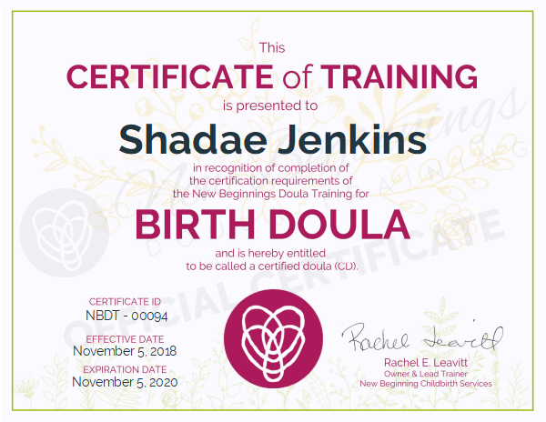Shadae Jenkins, Certificate of Training, Birth Doula for Hartford Connecticut