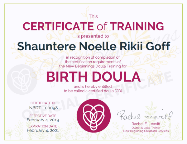Certificate of Training, Shauntere Noelle Rikii Goff, Birth Doula