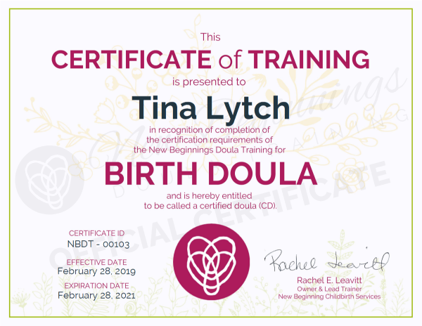 Certificate of Training, Tina Lytch, Birth Doula, San Antonio, Texas