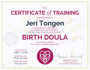 Certificate of Training - Jeri Tongen - Birth Doula - Minneapolis Minnesota Metro Area