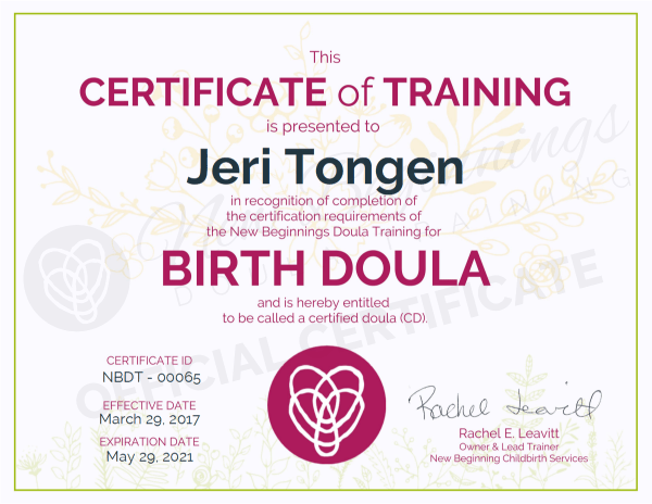 Certificate of Training - Jeri Tongen - Birth Doula - Minneapolis Minnesota Metro Area