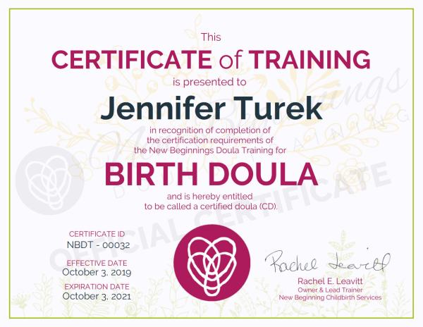 Certificate of Training - Jennifer Turek - Birth Doula