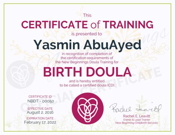 Certificate of Training, Yasmin AbuAyed, Birth Doula