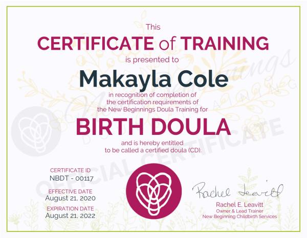 Certificate of Training, Makayla Cole, Birth Doula
