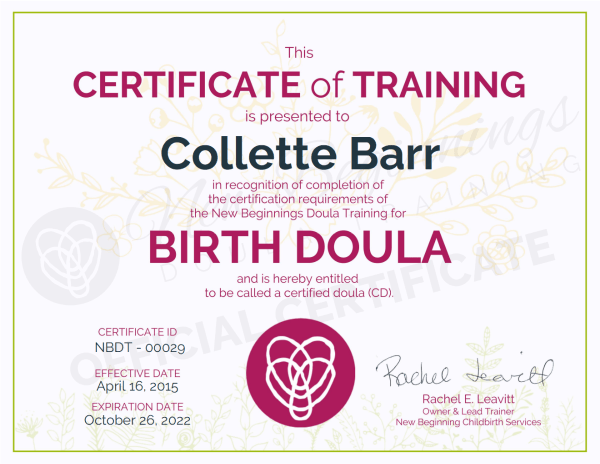 Certificate of Training, Collette Barr, Birth Doula