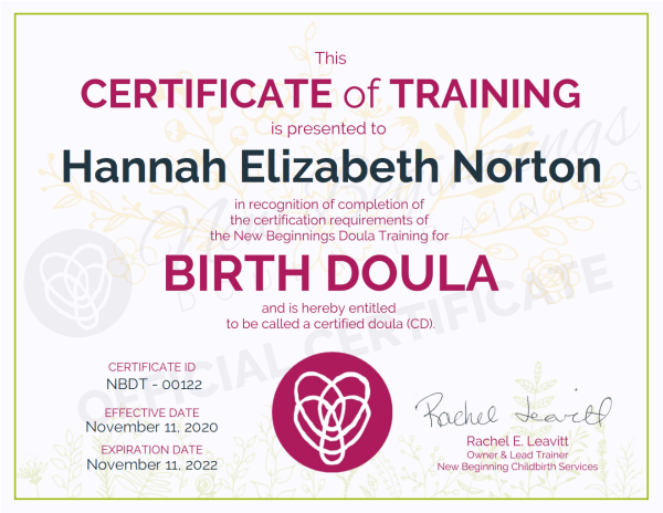 Certificate of Training, Hannah Elizabeth Norton, Birth Doula