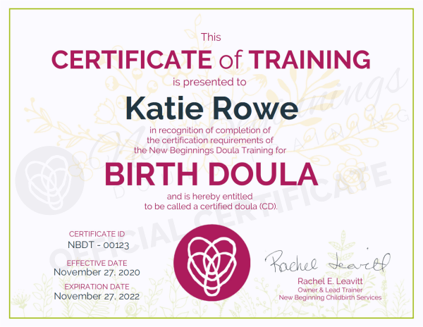 Certificate of Training, Katie Rowe,  Birth Doula