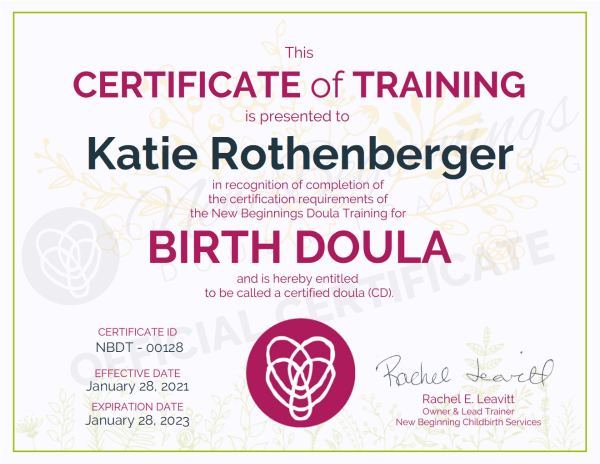 Certificate of Training  Katie Rothenberger Birth Doula