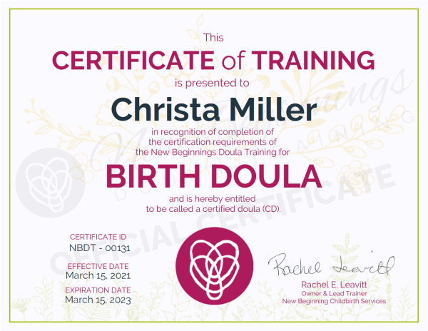 Certificate of Training Christa Miller Birth Doula