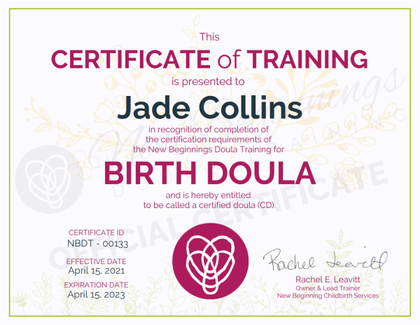 Certificate of Training, Jade Collins, Birth Doula