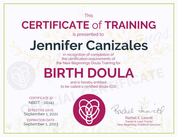 Certificate of Training Jennifer Canizales Birth Doula