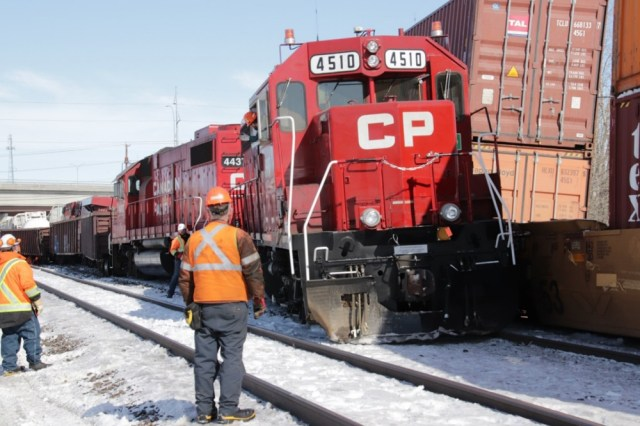 Locomotives off track after collision