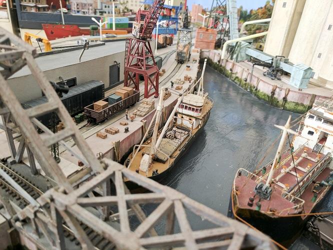 Loading dock in Wrightsville Port. N Scale (1:160) model train layout
