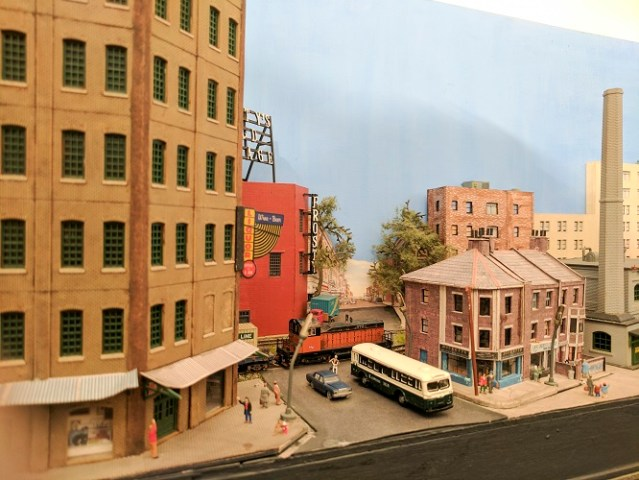 The same town scene depicting day time scenery. Wrightsville Port Model Train Layout at 1:160