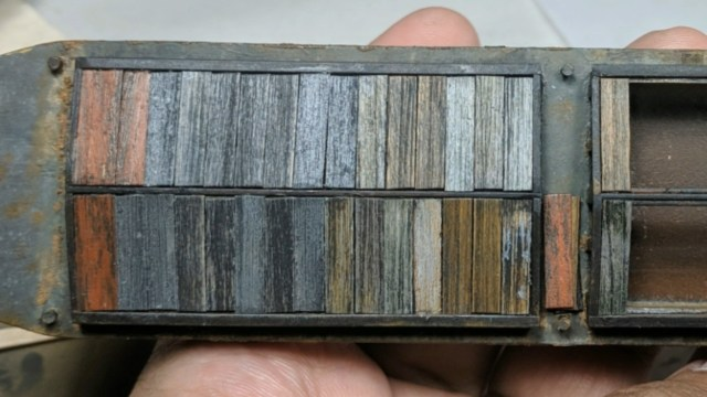 Weathered Wooden hatch on an N Scale Barge