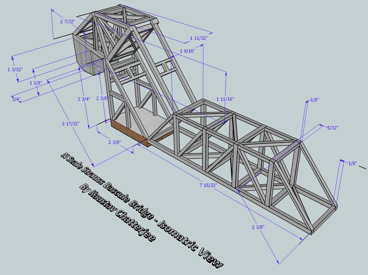 Isomretic View of an n Scale Lift Bridge