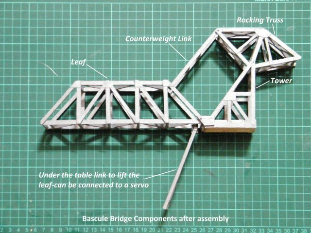 N Scale Bascule lift bridge made of scrap wood
