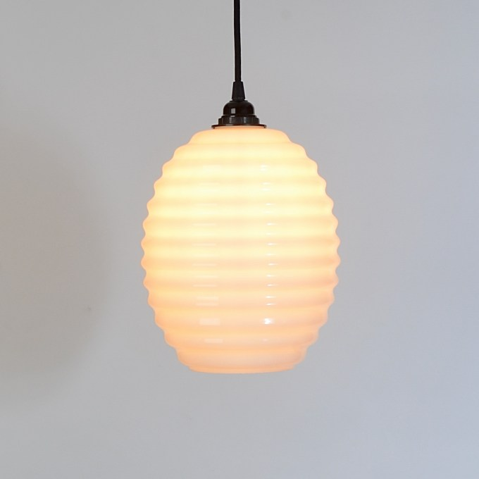 trainspotters lighting beehive opaline glass pendant