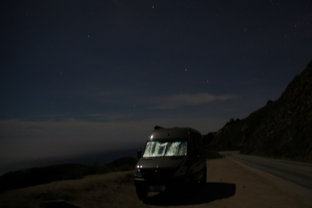 Parked overnight in Big Sur on Highway 1 on a starry night.