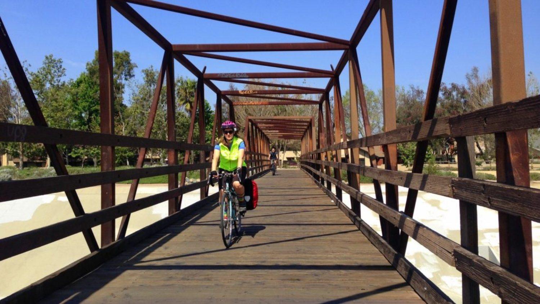 Crossing the Santa Ana River on the bike trail.