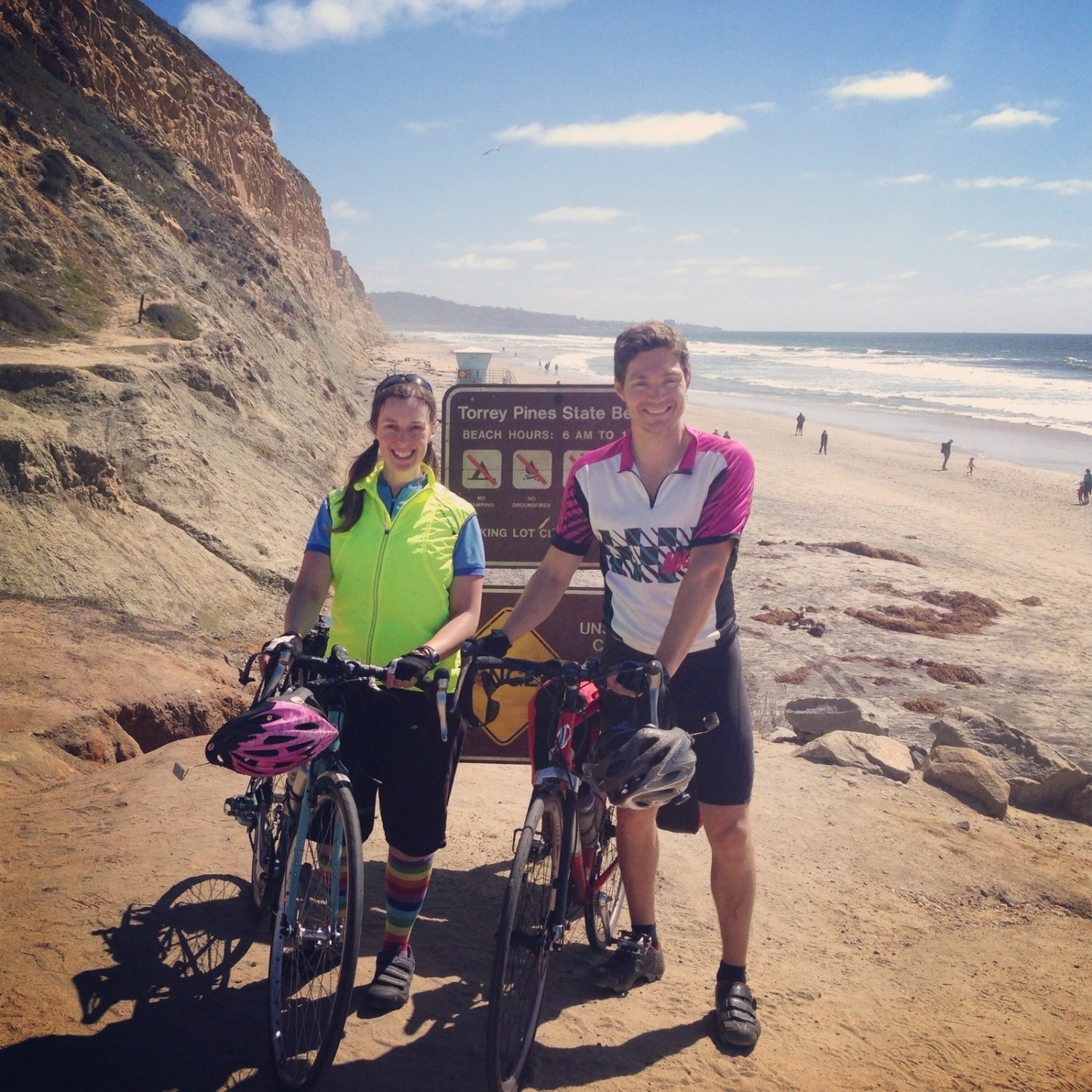 Checking the view at lovely Torrey Pines before a tough climb into San Diego.