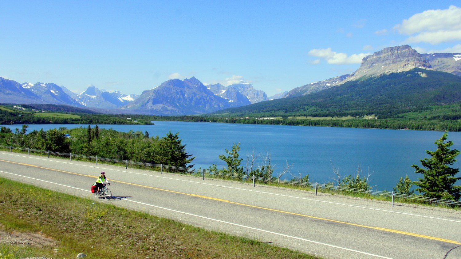 Riding north on the east side of Glacier toward Canada.