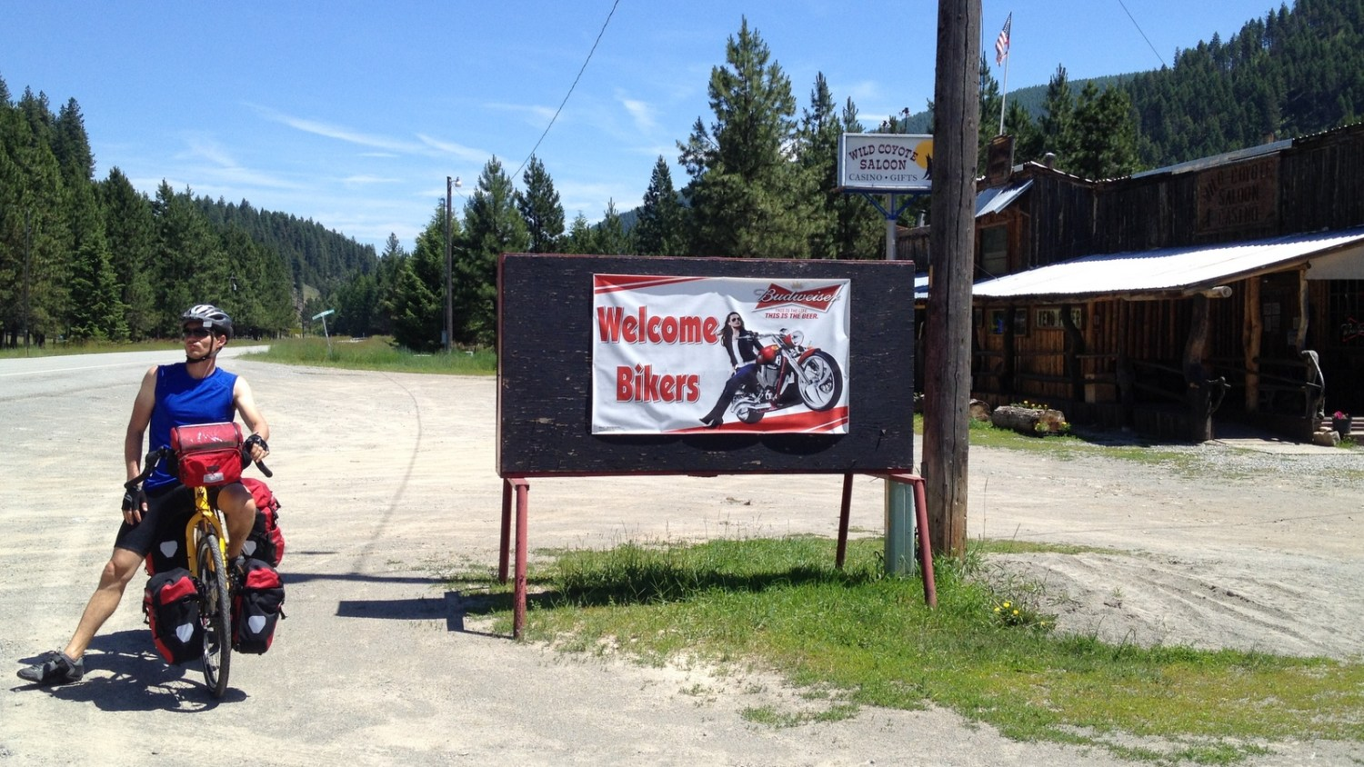 The Wild Coyote Saloon in Montana. Solid food and nice cold refills for our water bottles. (C photo)