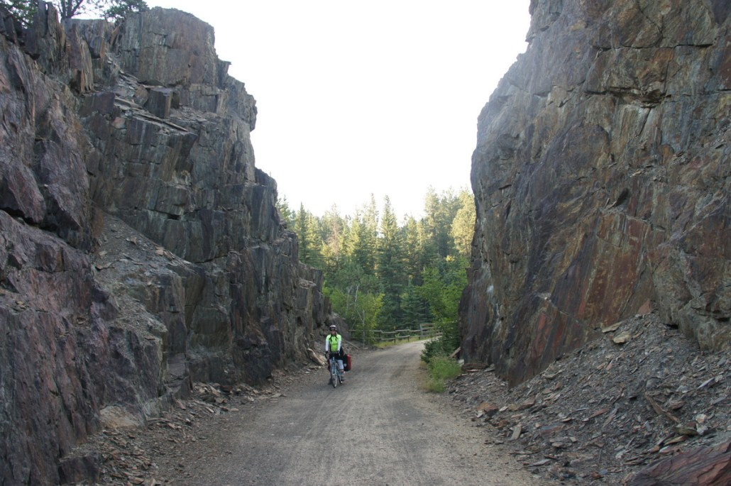 In some places, the trail is hewn through solid rock like this.