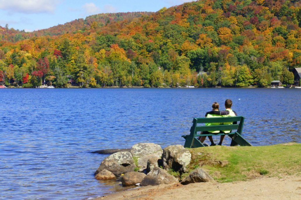Enjoying a lunch break on a lake.