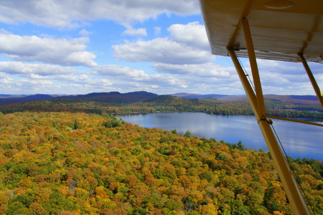A few hundred feet over the lake.