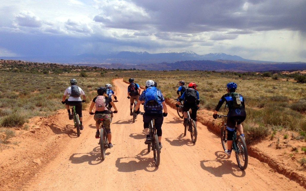 Group ride on Magnificent 7 in Moab