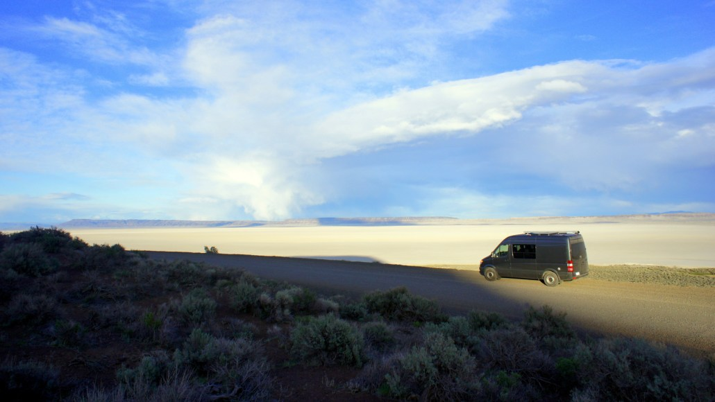 The van taking in a view of the Alvord Desert.