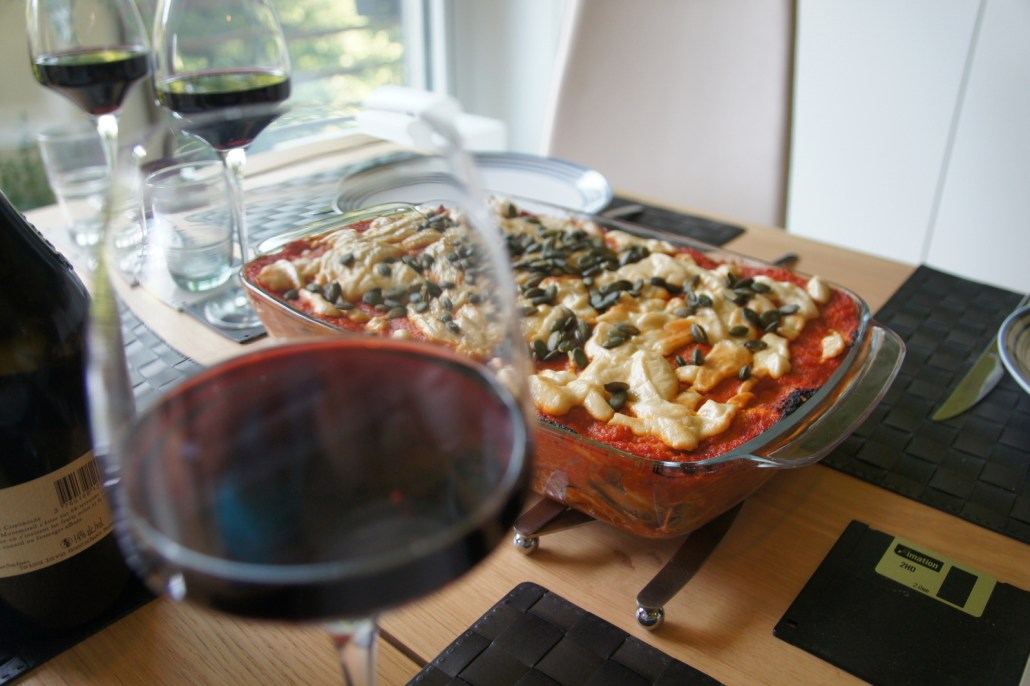 Chelsea's vegan enchiladas plus wine from the French region of Alsatia.
