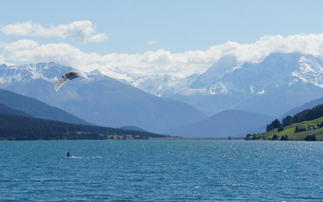 Kite boarding in Resia, Italy