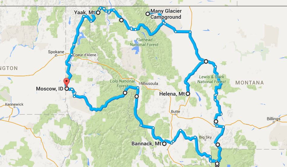 Our route, clockwise starting and finishing in Moscow, Idaho.