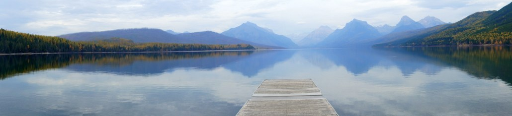 A silent Lake McDonald in Glacier National Park.