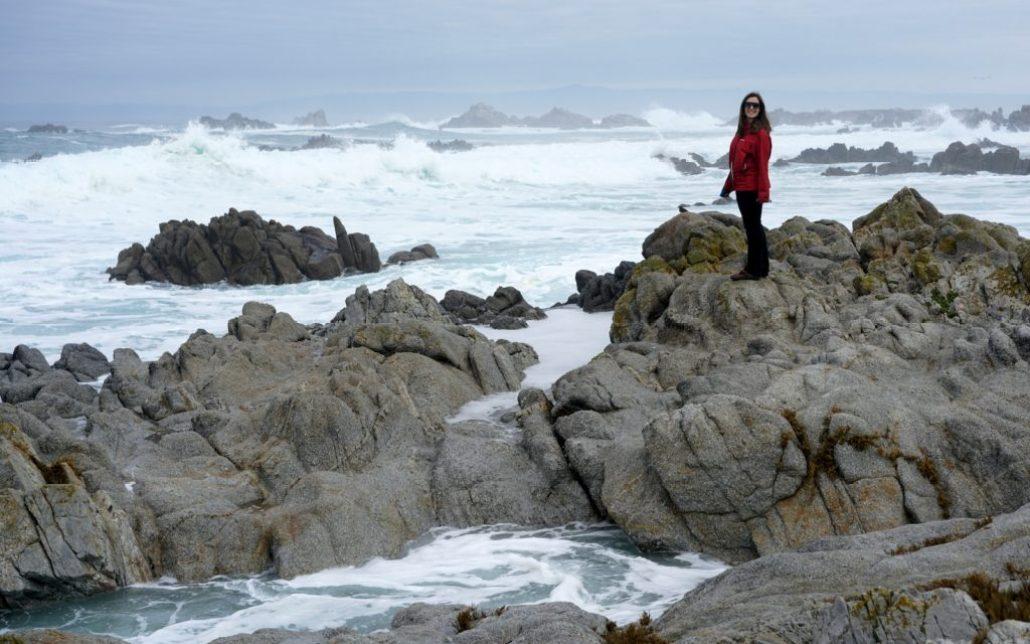 Exploring the rocky beach south of Santa Cruz.
