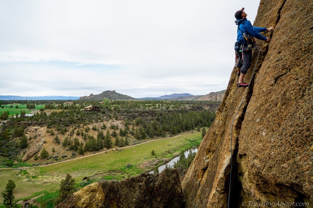 Nothing like a trad lead to keep the heart rate high. Here I am on Spiderman at Smith Rock.