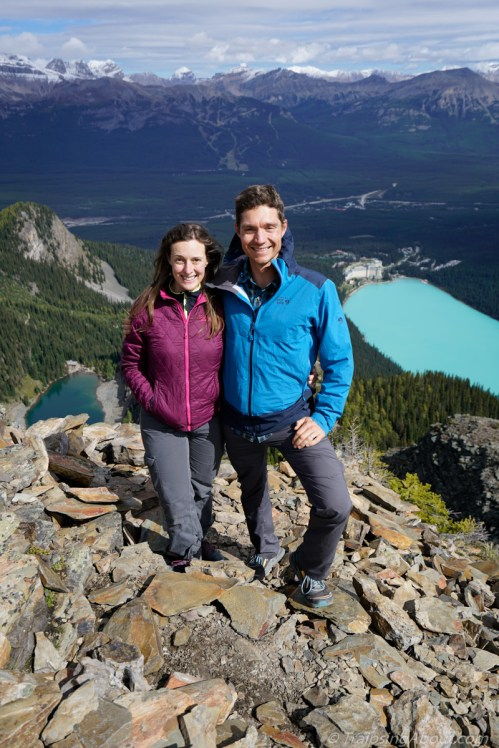 High on the Devil's Thumb in Banff with Lake Louise behind us.