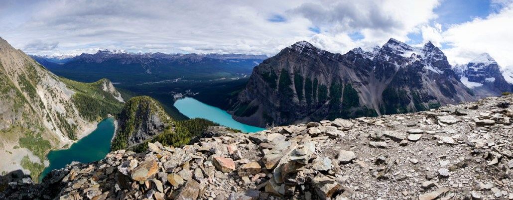 View of Lake Agnes and Lake Louise from Devil's Thumb.
