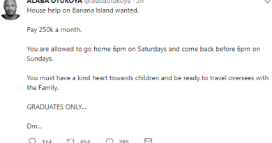 Hilarious! See reactions to a job advert that promises to pay ₦250K for a househelp in a home in Banana Island