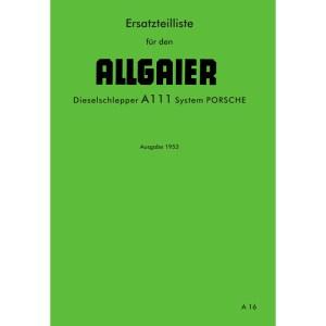Allgaier Traktor A111 A 111 Ersatzteilliste Dieselschlepper